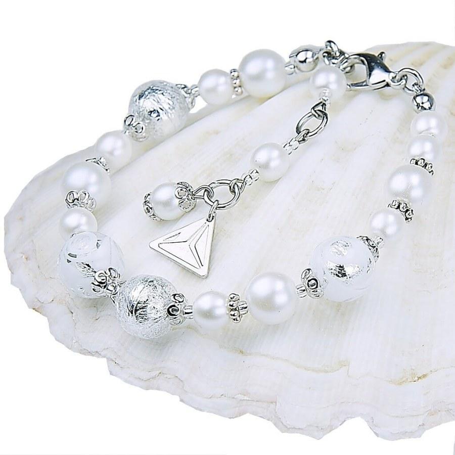 Lampglas Elegantní náramek White Lace s perlami Lampglas s ryzím stříbrem BP1