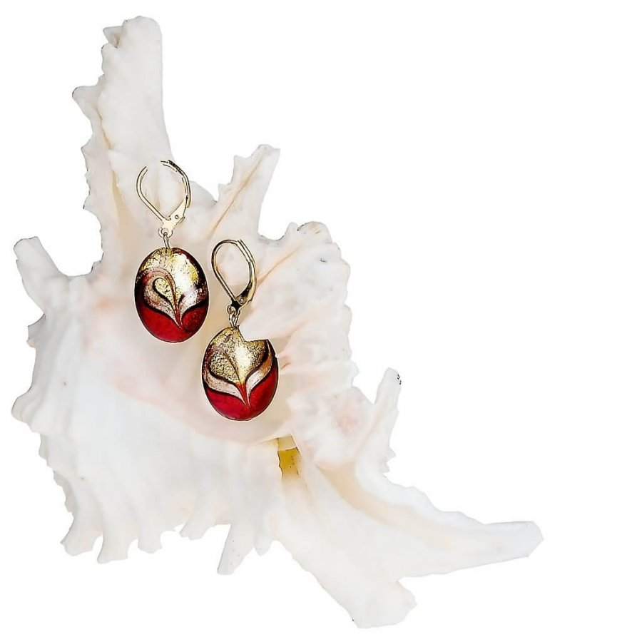 Lampglas Elegantní náušnice Red Sea z perel Lampglas s 24karátovým zlatem EP25