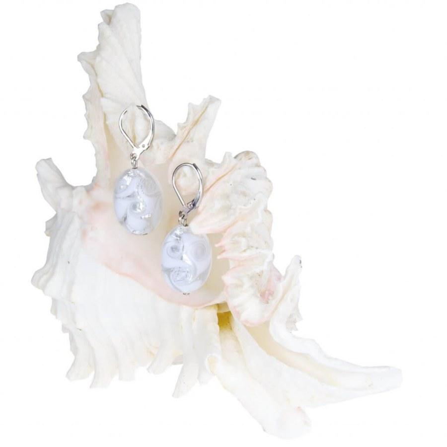 Lampglas Elegantní náušnice White Lace s ryzím stříbrem v perlách Lampglas EP1