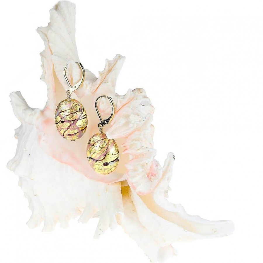 Lampglas Krásné náušnice Romantic Roots z perel Lampglas s 24karátovým zlatem EP13