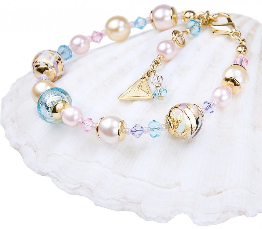 Lampglas Krásný náramek Romantic Roots s perlami Lampglas s 24karátovým zlatem BP13