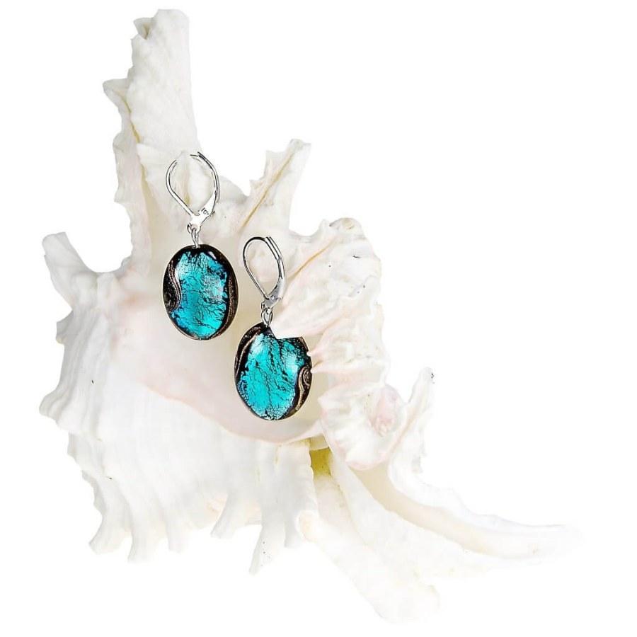 Lampglas Tajemné náušnice Deep Sea z perel Lampglas s ryzím stříbrem EP11