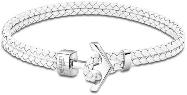 Lotus Style Bílý kožený náramek s kotvou LS2075-2/1