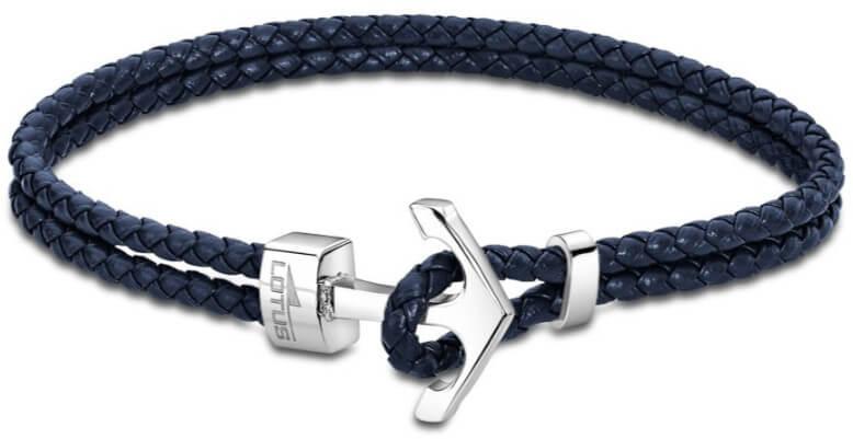 Lotus Style Modrý kožený náramek s kotvou LS2075-2/3