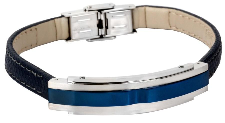 Lotus Style Tmavě modrý kožený náramek LS1809-2/2