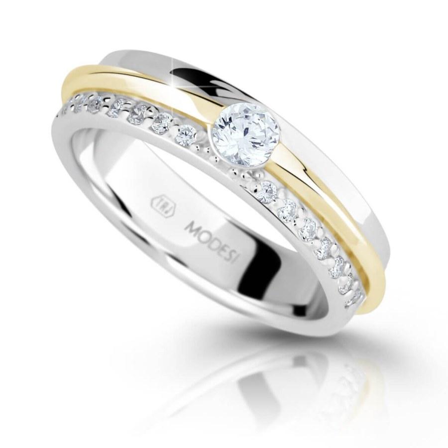 Modesi Bicolor stříbrný prsten se zirkony M16023 56 mm