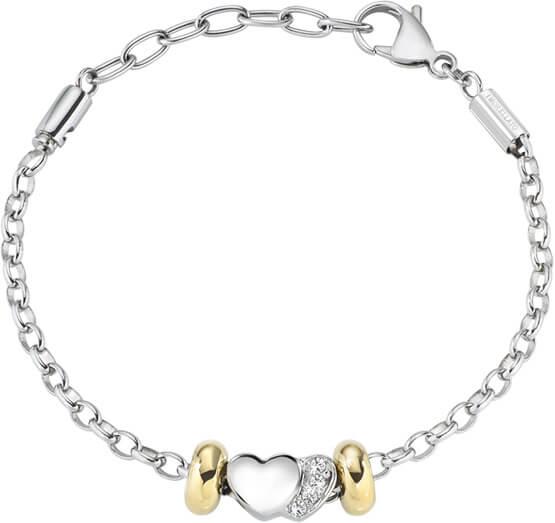 Morellato Ocelový bicolor náramek Drops Heart SCZ714 - Šperky Náramky