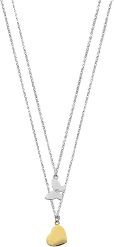 Morellato Ocelový náhrdelník s motýlkem a srdíčkem SAHM04 - Šperky Náhrdelníky