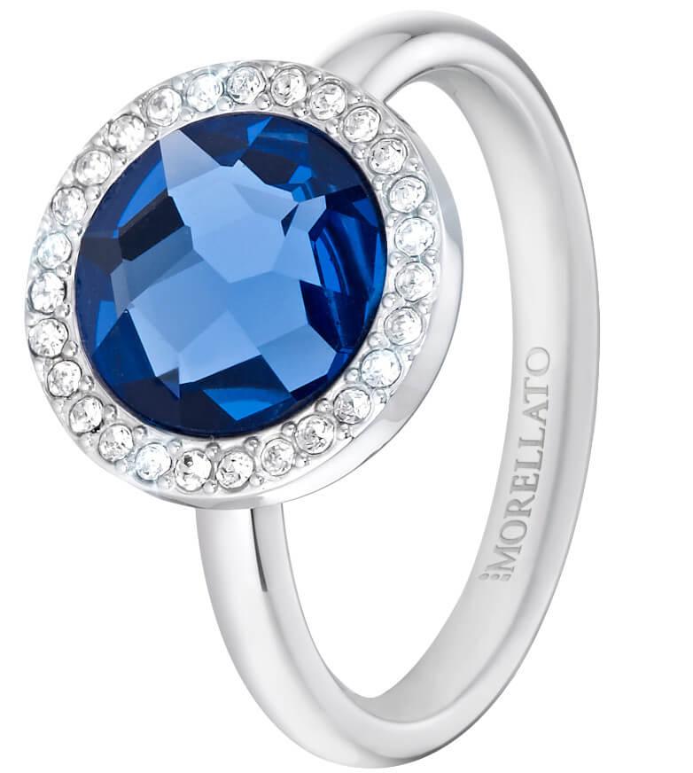 Morellato Ocelový prsten s modrým krystalem Essenza SAGX15 52 mm