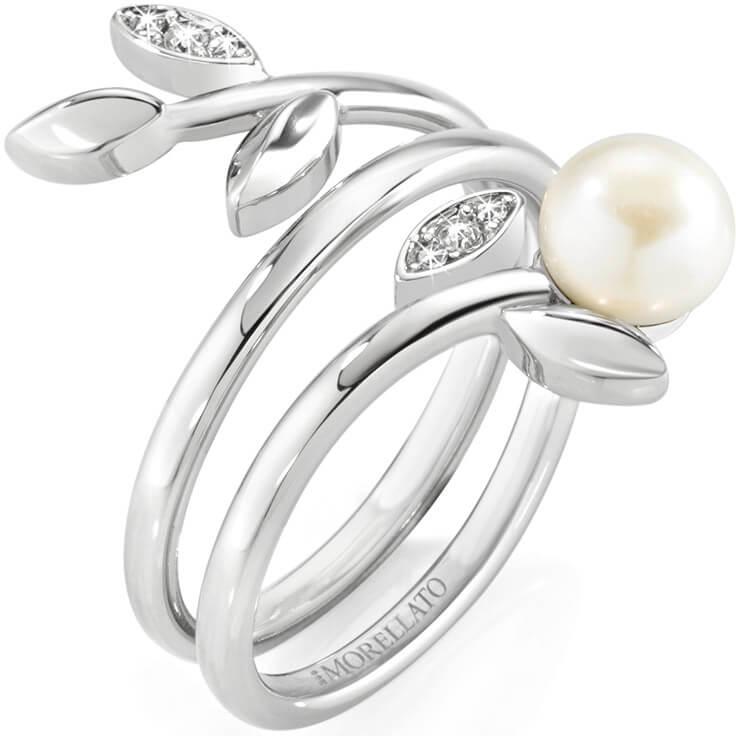 Morellato Ocelový prsten s perlou Gioia SAER26 56 mm