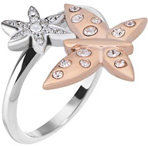 Morellato Ocelový bicolor prsten s motýlkem Natura SAHL06 58 mm