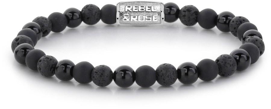 Rebel a Rose Korálkový náramek Black Rocks RR-60033-S 15 cm - XS
