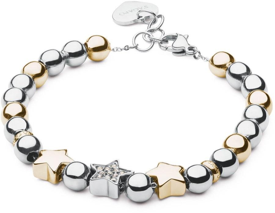 S`Agapõ Romantický bicolor náramek s hvězdičkami Bonjour SBJ19 - Šperky Náramky