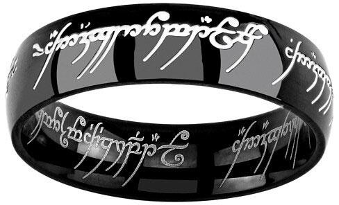 Silvego Černý ocelový prsten moci z Pána prstenů a Hobit RRC5623 48 mm