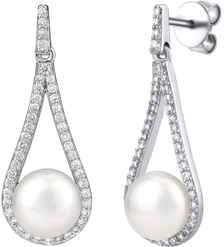 Silvego Luxusní stříbrné náušnice s pravou bílou perlou LPSGRP19233W