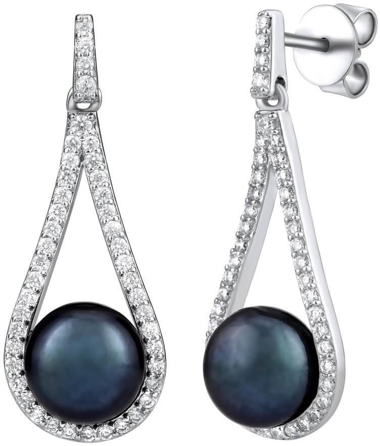 Silvego Luxusní stříbrné náušnice s pravou černou perlou LPSGRP19233B