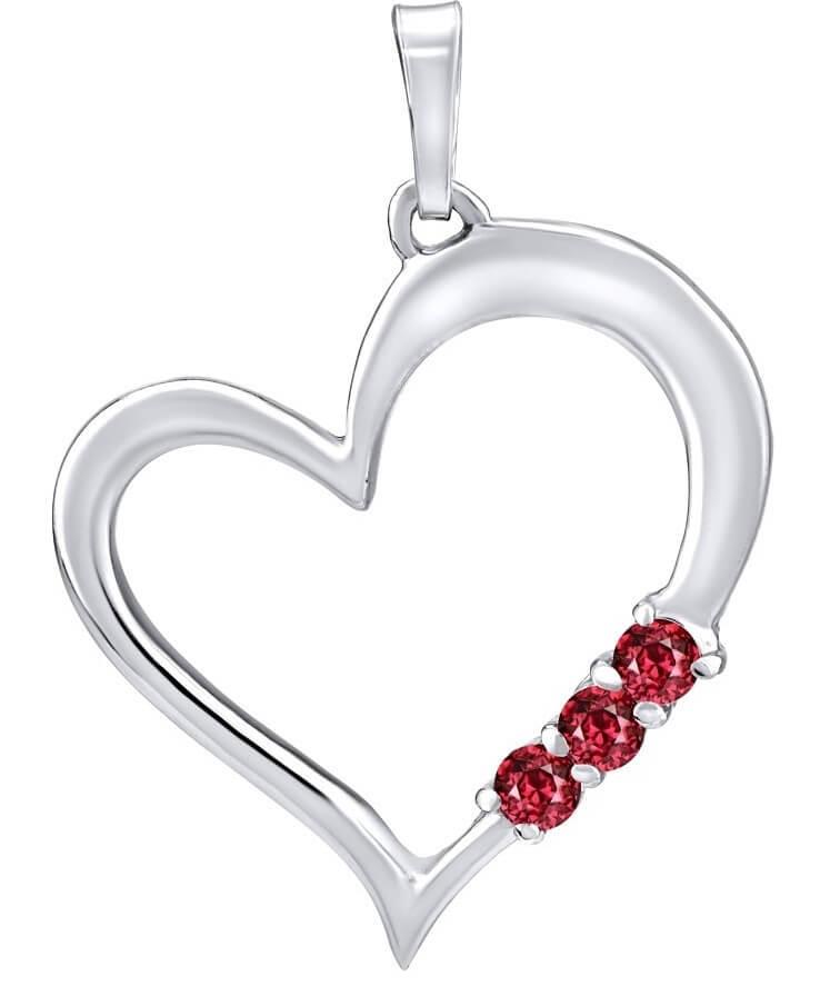 Silvego Stříbrný přívěsek Srdce s červenými krystaly Swarovski SILVEGO11580R