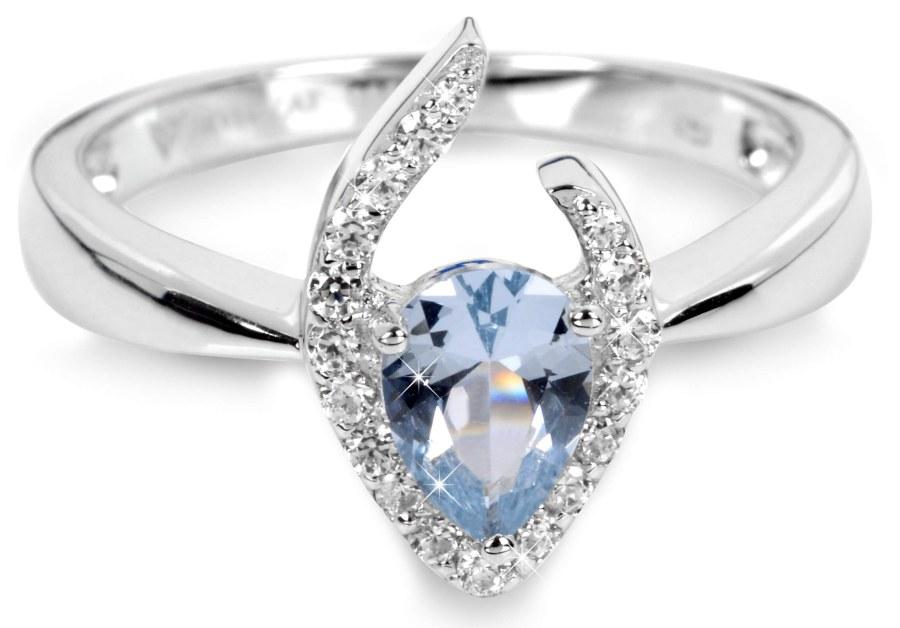 Silver Cat Stříbrný prsten s modrým krystalem SC115 52 mm