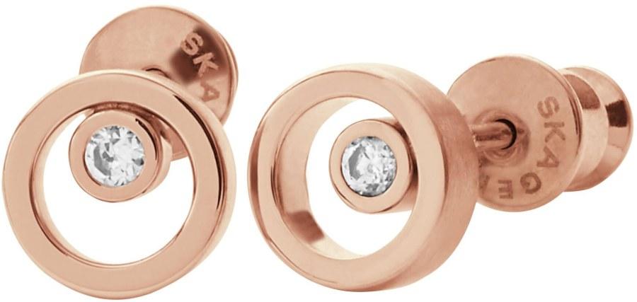 Skagen Bronzové náušničky s krystalem SKJ0853791 - Šperky Náušnice