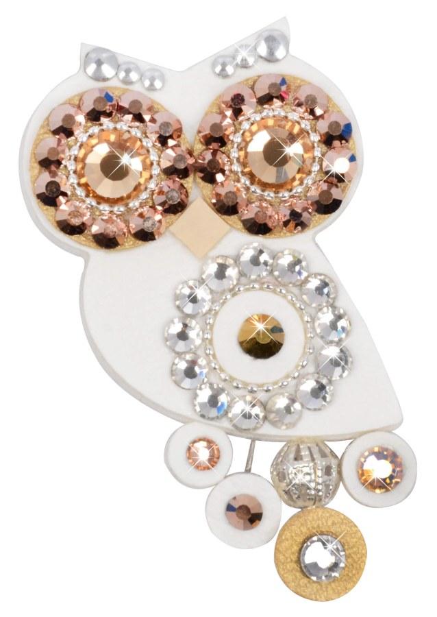 Sovičky Malá soví brož bílo-zlatá - Šperky Brože