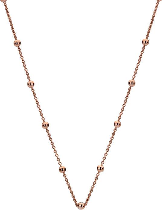 Hot Diamonds Stříbrný řetízek Emozioni Rose Gold Cable with Ball CH005 - Šperky Řetízky