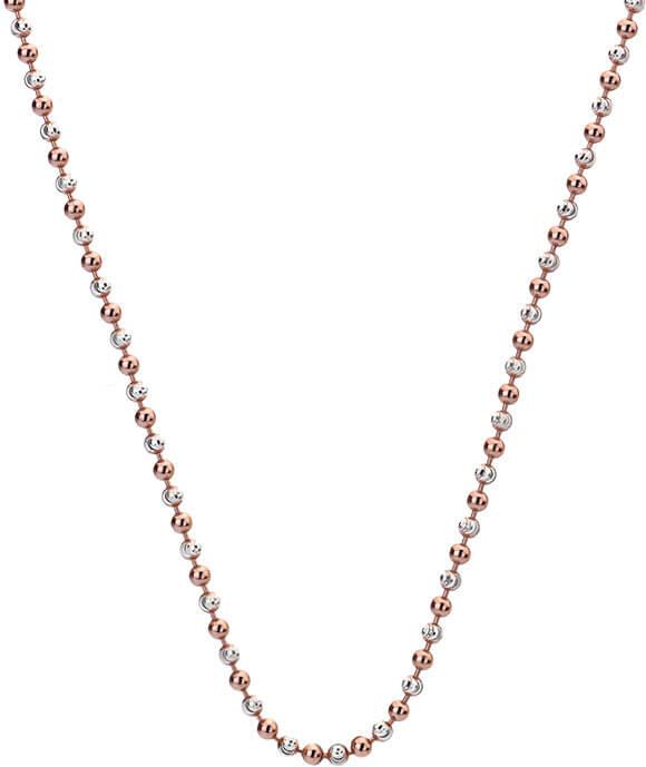 Hot Diamonds Stříbrný řetízek Emozioni Silver and Rose Gold Bead CH020 - Šperky Řetízky