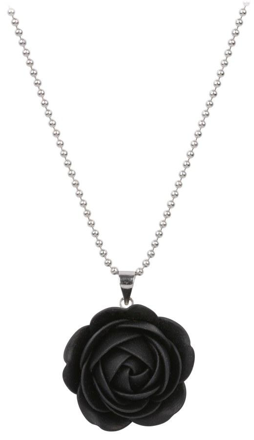 Troli Černý náhrdelník kytička