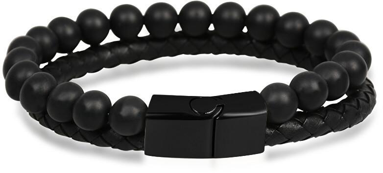 Troli pánský náramek z kůže a korálků Leather SW-BL033 TO1686