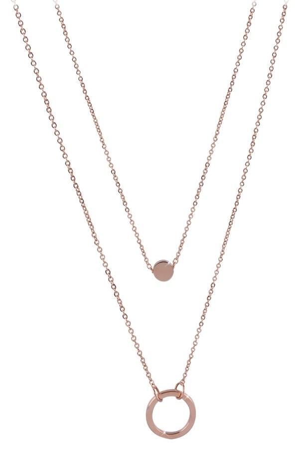 Troli dvojitý náhrdelník s kroužkovými přívěsky z růžově pozlacené oceli TO2154