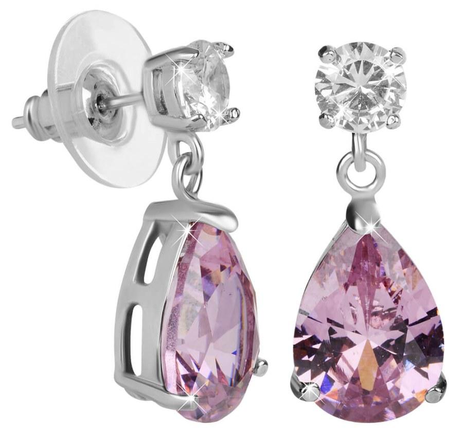 Troli Jiskřivé náušnice s růžovými krystaly TO2185