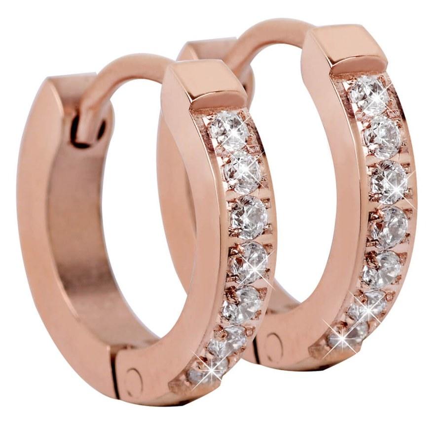 Troli Růžově pozlacené ocelové náušnice s krystaly TO2219