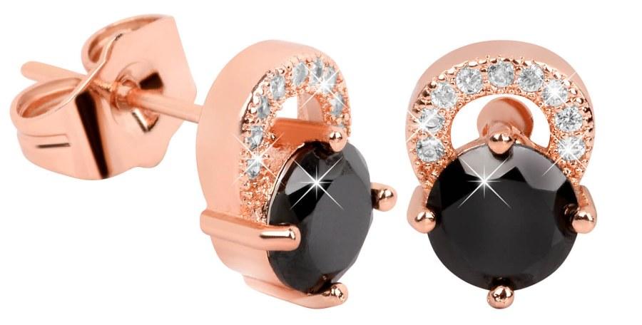 Troli Růžově pozlacené náušnice s černými krystaly TO2057