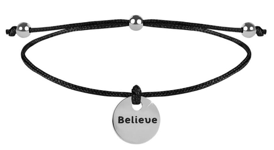 Troli Šňůrkový náramek Believe černá/ocelová TO2606