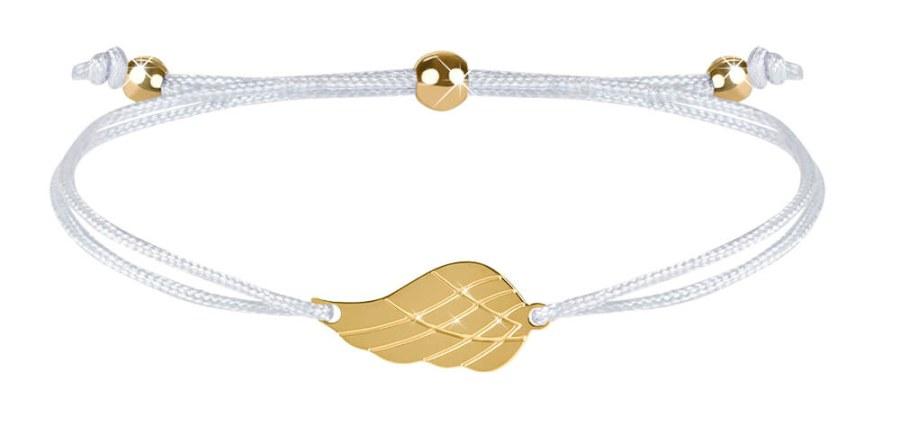 Troli Šňůrkový náramek s andělským křídlem bílá/zlatá TO2564