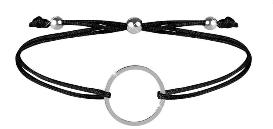 Troli Šňůrkový náramek s kruhem černá/ocelová TO2469
