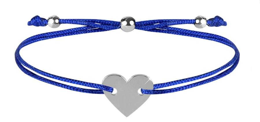Troli Šňůrkový náramek se srdcem modrá/ocelová TO2500