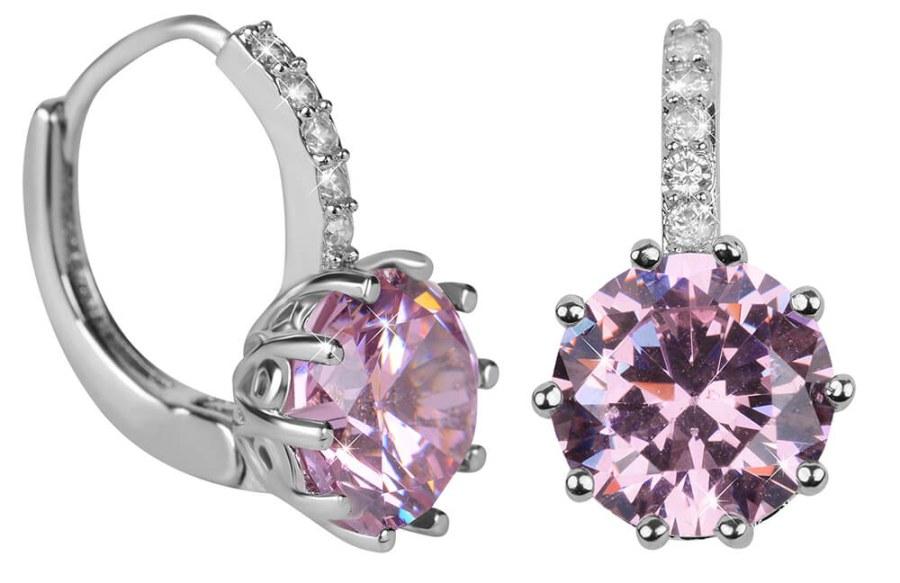 Troli Třpytivé náušnice s růžovým krystalem